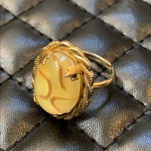 Vintage Juliana Gold Plate Easter Egg Stone Ring